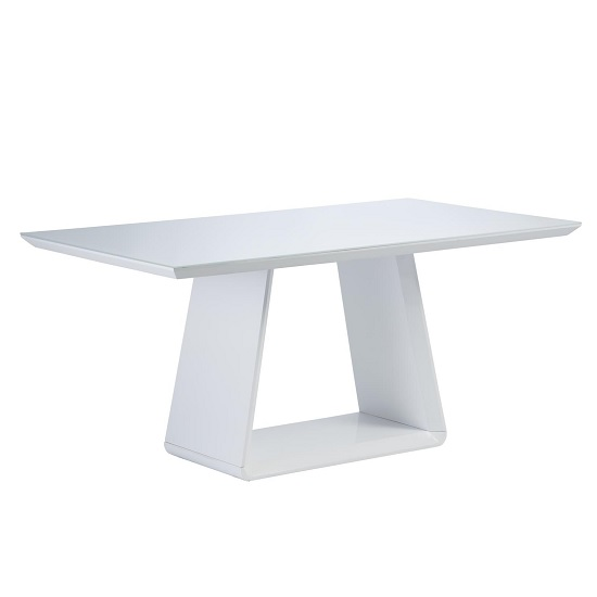 Conrad Glass Dining Table Rectangular In White And High Gloss