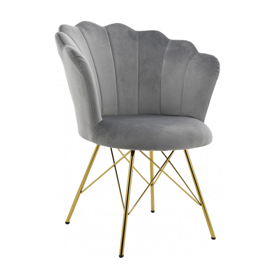 Conrad Velvet Dining Chair In Grey