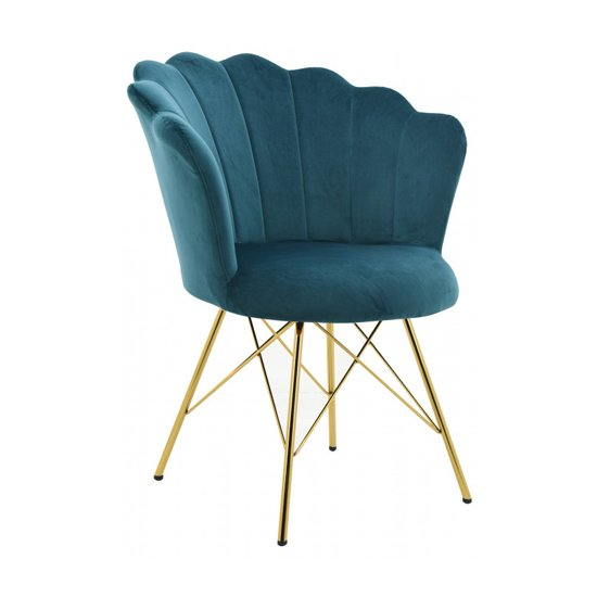 Conrad Velvet Dining Chair In Teal