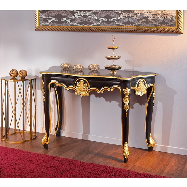 Royal Vintage Console Table Baroque Style In Black And Gold