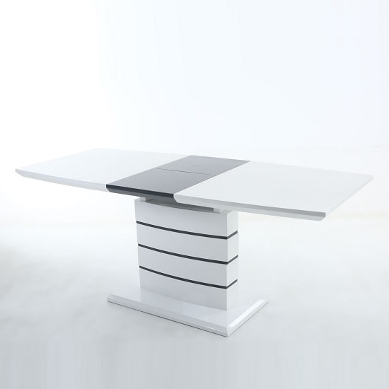 Consort Extendable Dining Table In White High Gloss And Grey