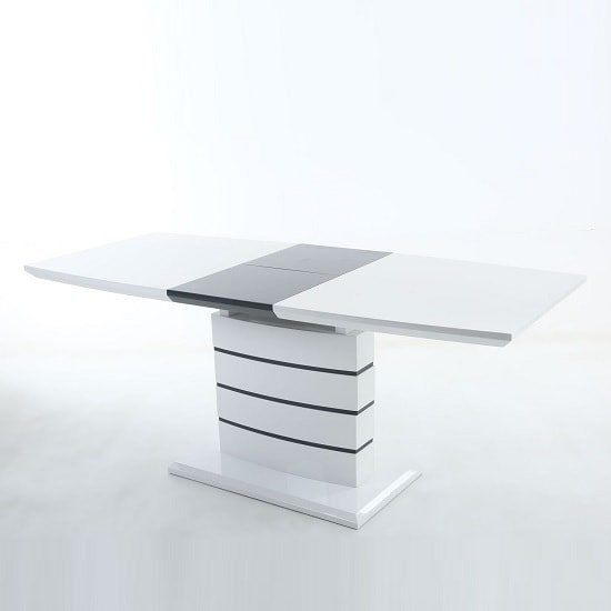 Consort Extendable Dining Table In White High Gloss And Grey 1