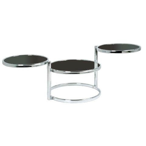 Moon Swivel Coffee Table In Black Glass With Chrome Frame