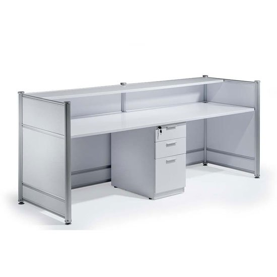 Harsh Contemporary Wooden Reception Desk In High Gloss White_2