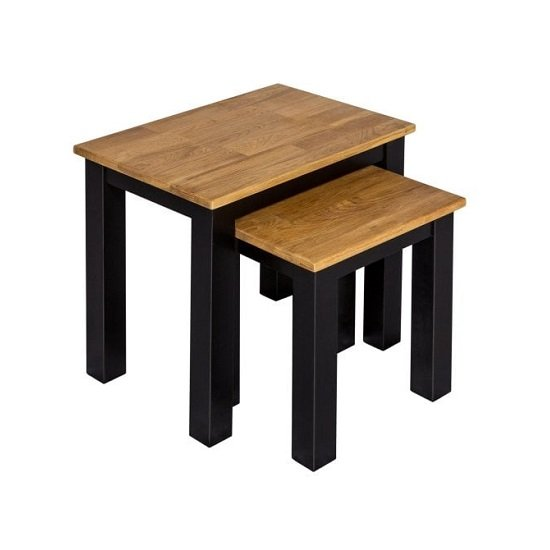 Contra Wooden Nest Of Tables In Oak And Black Finish