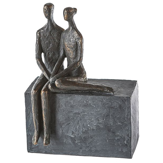 View Conversation poly design sculpture in burnished bronze and grey