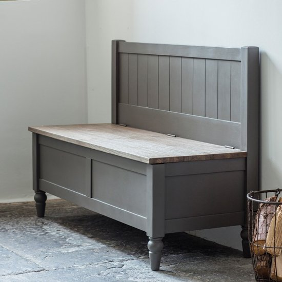 Cookham Wooden Hallway Bench In Grey_1