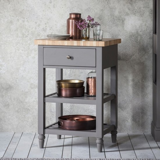 View Cookham wooden butchers block side table in grey