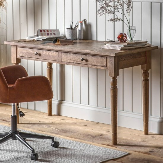 Cookham Wooden Laptop Desk In Oak With 2 Drawers
