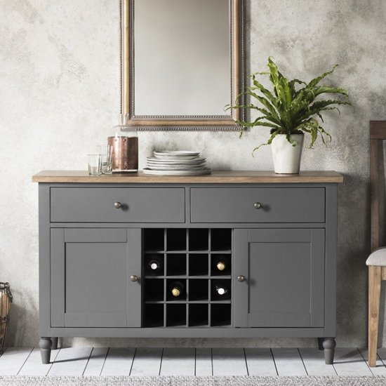 Cookham Wooden Large Sideboard In Grey