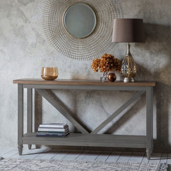Cookham Wooden Trestle Side Table In Grey