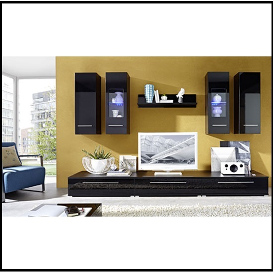 Cool Living Room Furniture Set In High Gloss Black 20418