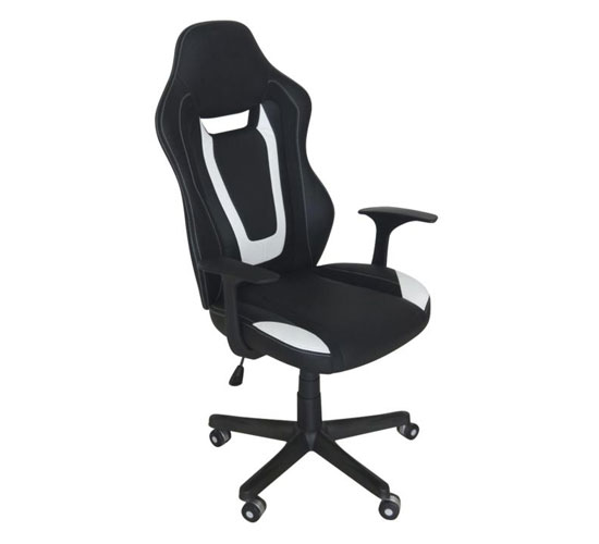 Coollife Polyurethane Office Chair In Black And White With Arms