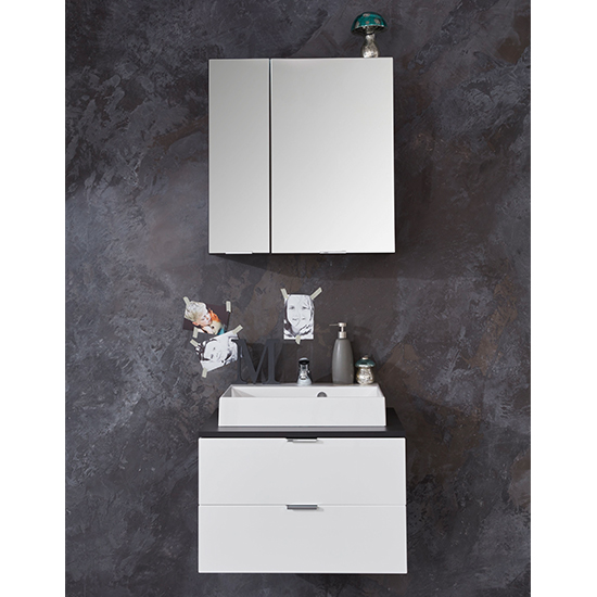 Coone LED Bathroom Furniture Set 1 In White Gloss And Graphite_1