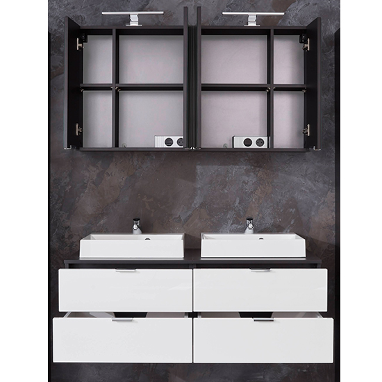 Coone LED Bathroom Furniture Set 2 In White Gloss And Graphite_5