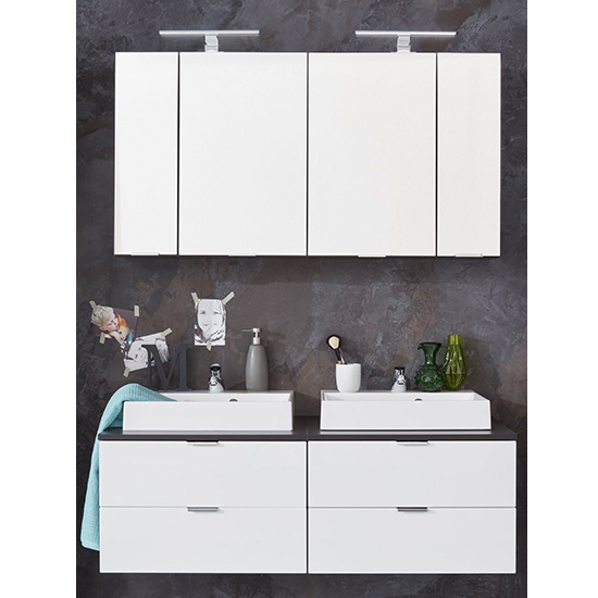 Coone LED Bathroom Furniture Set 2 In White Gloss And Graphite_1