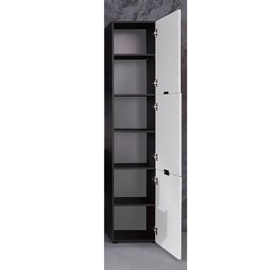 Coone Bathroom Storage Unit In White High Gloss And Graphite_2