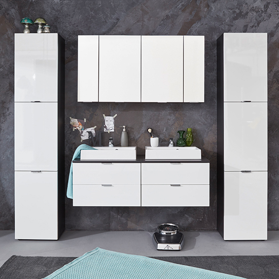 Coone Bathroom Storage Unit In White High Gloss And Graphite_5
