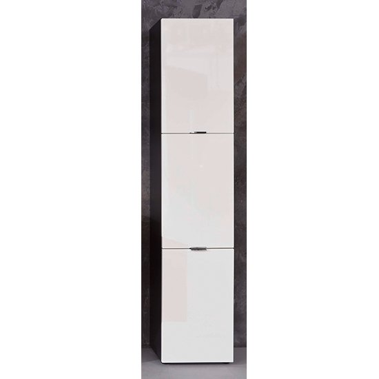 Coone Bathroom Storage Unit In White High Gloss And Graphite