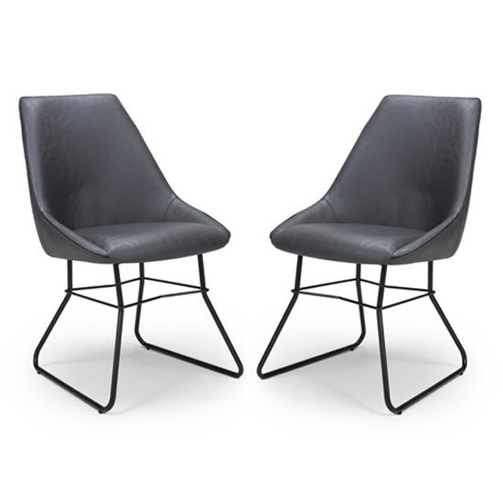 Cooper Grey Faux Leather Dining Chair In A Pair