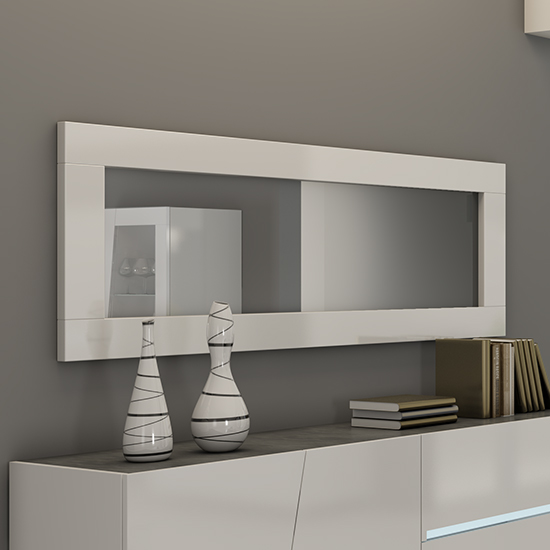 Cooper Wall Mirror In White Gloss Lacquer Wooden Frame