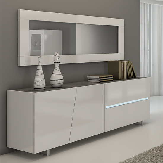 Cooper Wooden Sideboard And Mirror In White Gloss With LED