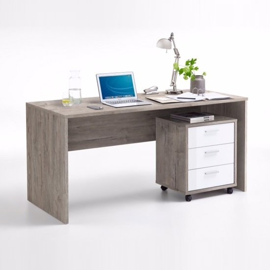 Cooper Computer Desk And Cabinet In Sand Oak And White Gloss_1