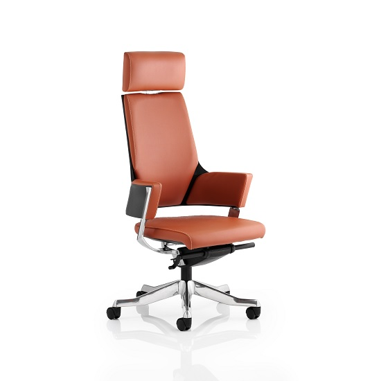 Cooper Office Chair In Tan Bonded Leather With High Back