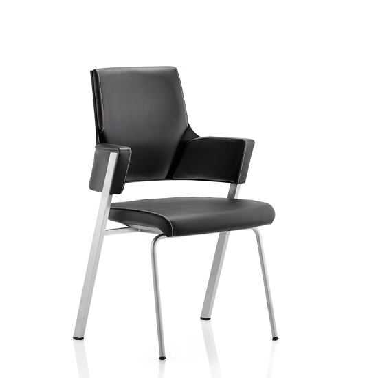 Cooper Visitor Office Chair In Black Bonded Leather