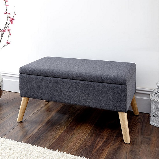 Copeland Large Fabric Storage Ottoman Unit In Charcoal