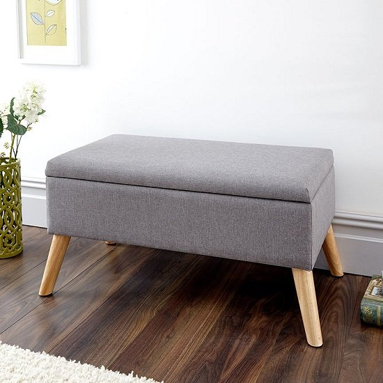 Copeland Large Fabric Storage Ottoman Unit In Grey