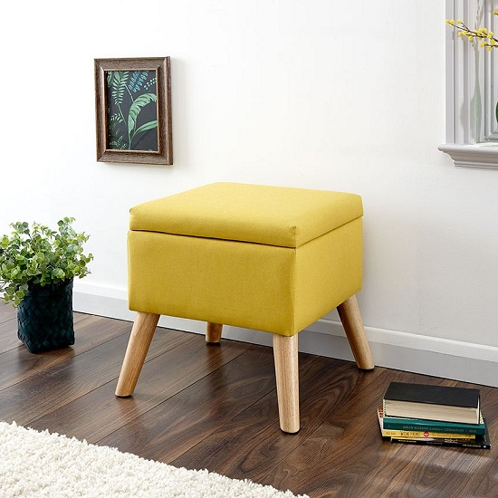 Copeland Small Fabric Storage Ottoman Unit In Yellow