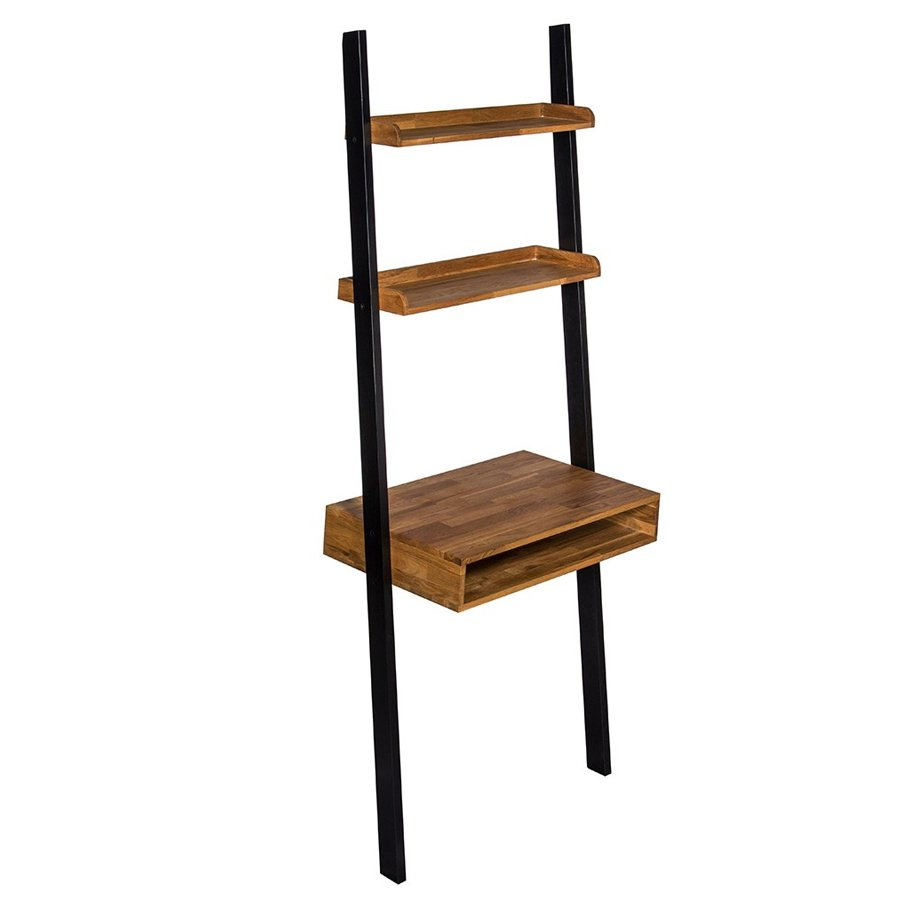 Copenhagen Oiled Wood Ladder Computer Desk With Black Frame