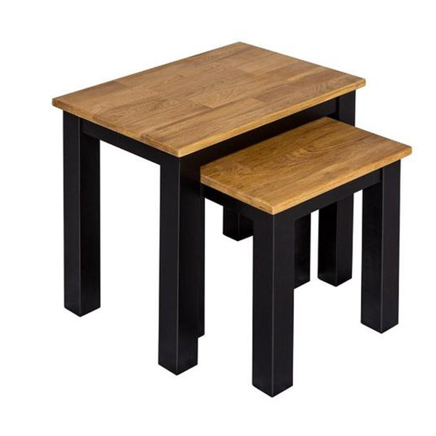 Copenhagen Oiled Wood Nest Of Tables With Black Frame_2