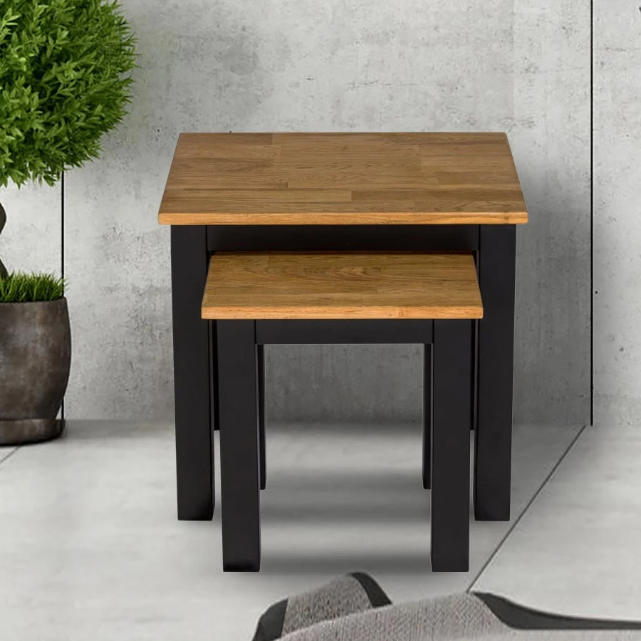 Copenhagen Oiled Wood Nest Of Tables With Black Frame_1