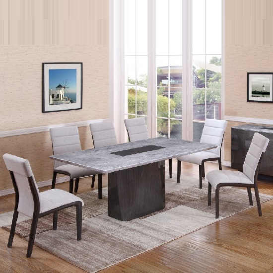 Copenhagen Marble Rectangular Dining Table With 6 Chairs