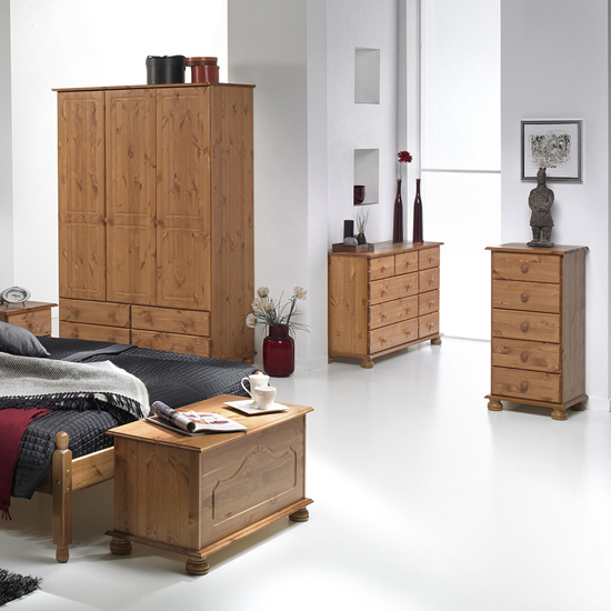 Copenham Narrow Chest Of Drawers In Pine With 5 Drawers_4