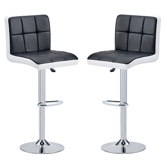 Copez Black And White Faux Leather Bar Stools In Pair