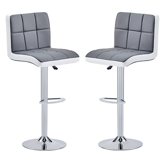 Copez Grey And White Faux Leather Bar Stools In Pair