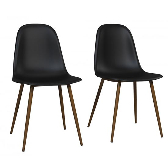 Copley Black Plastic Dining Chairs In Pair