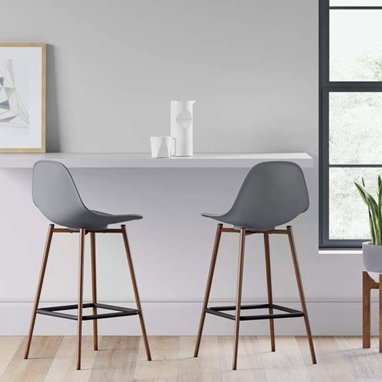 Copley Grey Plastic Counter Bar Stool In A Pair