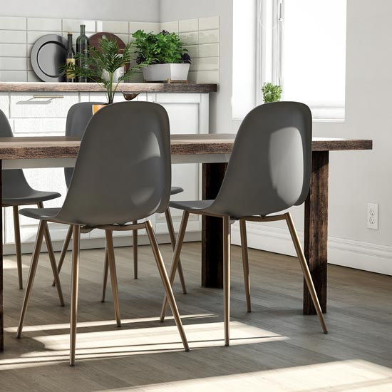 Copley Grey Plastic Dining Chairs In Pair