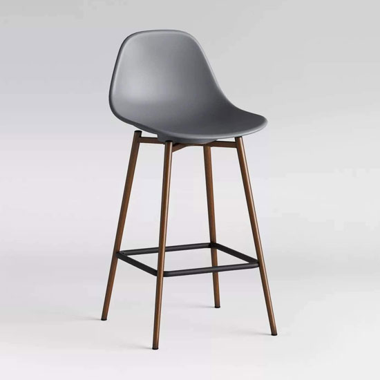 Copley Plastic Counter Bar Stool In Grey