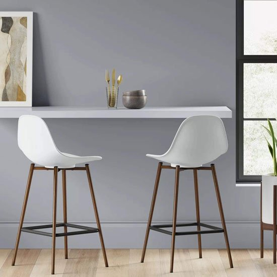 Copley White Plastic Counter Bar Stool In A Pair