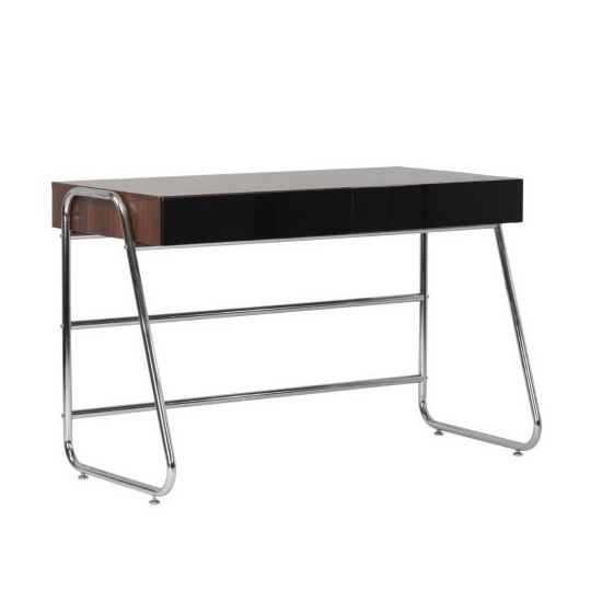 Coppice Designer Computer Desk In Walnut And Black High Gloss