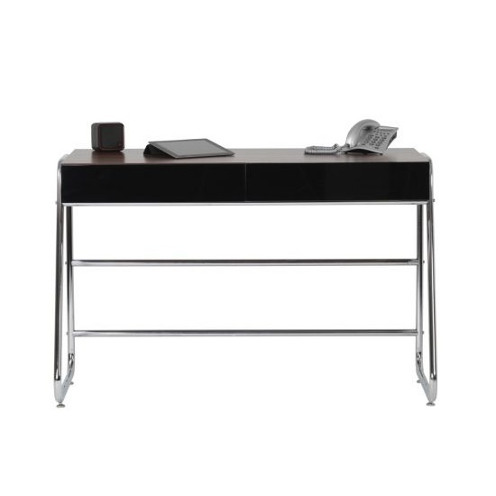 Coppice Designer Computer Desk In Walnut And Black High Gloss_3