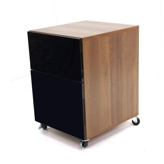 Coppice Wooden Pedestal In Walnut With High Gloss Black Fronts