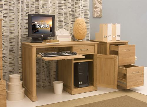 Artisan Single Pedestal Computer Desk In Oak With 1 Door