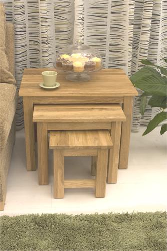 Artisan Wooden Nest of 3 Coffee Tables In Oak