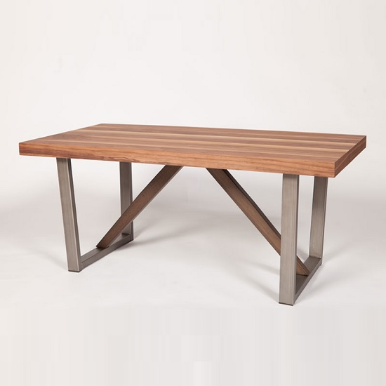 Coralie Wooden Coffee Table In Walnut With Metal Legs